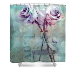 Roses Dreamy Shabby Chic Pink Roses Teal Aqua Impressionistic Cottage Pink Aqua Teal Love Roses Shower Curtain