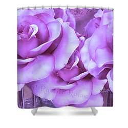 Dreamy Shabby Chic Purple Lavender Paris Roses - Dreamy Lavender Roses Cottage Floral Art Shower Curtain by Kathy Fornal