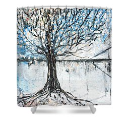 Shower Curtain featuring the painting Dreamy Spring by Evelina Popilian