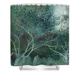 Dreamy Surreal Fantasy Teal Aqua Trees Nature  Shower Curtain by Kathy Fornal