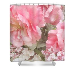 Dreamy Vintage Cottage Shabby Chic Pink Roses - Romantic Roses Shower Curtain by Kathy Fornal