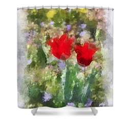 Shower Curtain featuring the painting Dressed In Red  by Kerri Farley