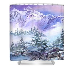 Shower Curtain featuring the painting Dressed In White Mount Shuksan by Sherry Shipley