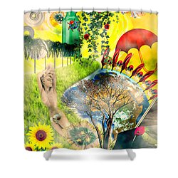 Shower Curtain featuring the mixed media Drifting Away by Ally  White