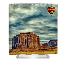 Shower Curtain featuring the painting Drifting Over Monument Valley by Jeff Kolker