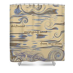 Shower Curtain featuring the digital art Driftwood Haiga by Judi Suni Hall