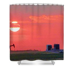 Shower Curtain featuring the photograph Rising Full Moon In Oklahoma by Janette Boyd