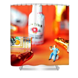 Drinking Among Liquor Filled Chocolate Bottles Shower Curtain by Paul Ge
