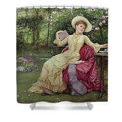 Drinking Coffee And Reading In The Garden Shower Curtain by Edward Killingworth Johnson