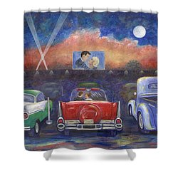 Drive-in Movie Theater Shower Curtain by Linda Mears