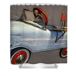 Drive In Pedal Car Shower Curtain by Michelle Calkins