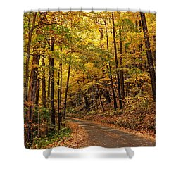 Shower Curtain featuring the photograph Driving Fall Mountain Roads. by Debbie Green