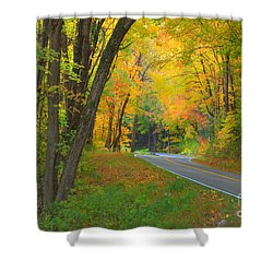 Driving Into Fall Shower Curtain by Geraldine DeBoer