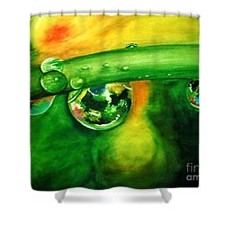 Shower Curtain featuring the painting Droplets by Allison Ashton