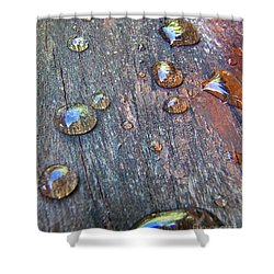 Drops On Wood Shower Curtain