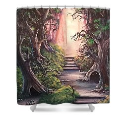 Shower Curtain featuring the painting Druid's Walk by Megan Walsh