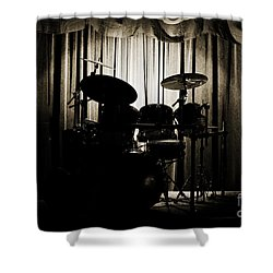 Drum Set On Stage Photograph Combo Jazz Sepia 3234.01 Shower Curtain