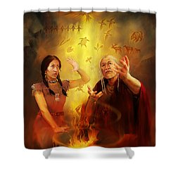Drum Story Elders Teaching Shower Curtain by Rob Corsetti