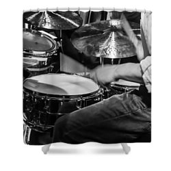 Drummer At Work Shower Curtain