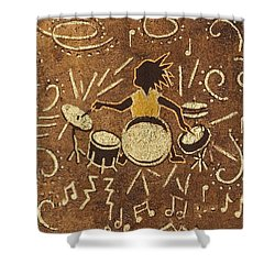 Drummer Shower Curtain by Katherine Young-Beck