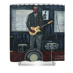 Drums And Wires Shower Curtain by Sandra Marie Adams
