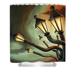 Drunk Streetlamps Shower Curtain by Remus Brailoiu