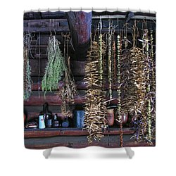 Drying Herbs And Vegetables In Williamsburg Shower Curtain by Dave Mills