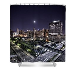 Shower Curtain featuring the photograph Dte In Detroit by Nicholas  Grunas