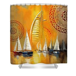 Dubai Symbolism Shower Curtain by Corporate Art Task Force