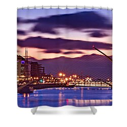 Shower Curtain featuring the photograph Dublin Docklands At Dawn / Dublin by Barry O Carroll