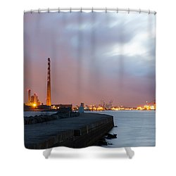 Dublin Port At Night Shower Curtain by Semmick Photo