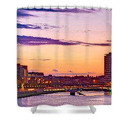 Shower Curtain featuring the photograph Dublin Skyline At Dusk / Dublin by Barry O Carroll