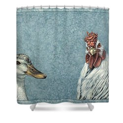 Duck Chicken Shower Curtain by James W Johnson
