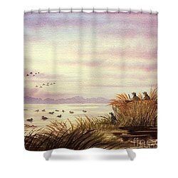 Shower Curtain featuring the painting Duck Hunting Companions by Bill Holkham