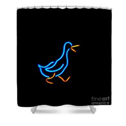 Duck Room Mascot Shower Curtain by Kelly Awad