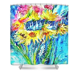 Ducks And Sunflowers  Shower Curtain