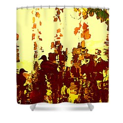 Ducks On Red Lake 2 Shower Curtain by Amy Vangsgard