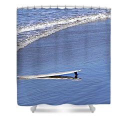 Dude Where Is My Surfer Shower Curtain by Kathy Churchman