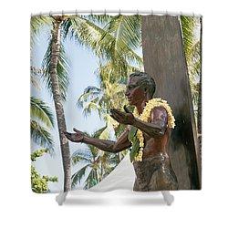 Duke Kahanamoku Statue Shower Curtain by Brandon Tabiolo