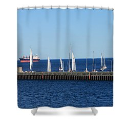 Duluth Mn Harbor Shower Curtain by Lori Tordsen