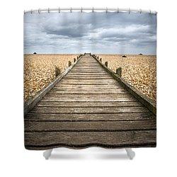 Dungeness Beach Walkway Shower Curtain