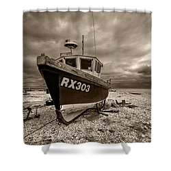 Dungeness Boat Under Stormy Skies Shower Curtain