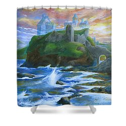 Dunscaith Castle - Shadows Of The Past Shower Curtain by Samantha Geernaert