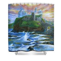 Dunscaith Castle - Shadows Of The Past Shower Curtain