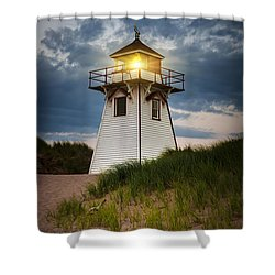 Dusk At Covehead Harbour Lighthouse Shower Curtain