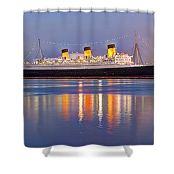 Dusk Light On The Queen Mary Shower Curtain