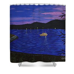 Dusk On Puget Sound Shower Curtain by Vicki Maheu