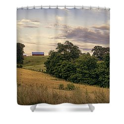Dusk On The Farm Shower Curtain by Heather Applegate