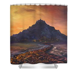 Shower Curtain featuring the painting Dusk Over St Michaels Mount Cornwall by Jean Walker