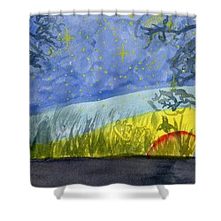 Dusky Scene Of Stars And Beans Shower Curtain